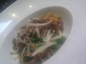 buckwheat tagliatelle, cider and bacon braised suckling pork and rapini