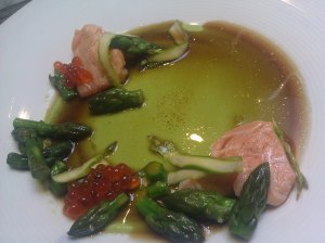 asparagus panna cotta with hot smoked salmon, roe and seaweed broth