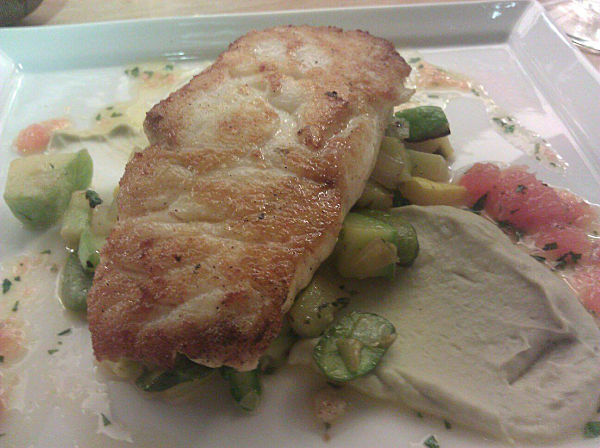 Pan-roasted Local Halibut – spring vegetable succotash, artichoke ...