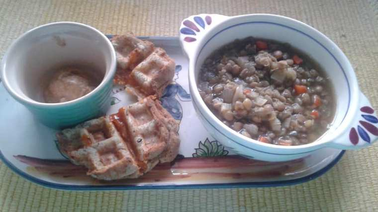 Lunch: Grilled cheese and lentil soup.