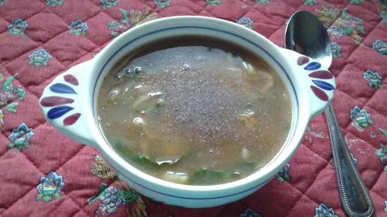 Potato, leek and bok choy soup made with bone broth