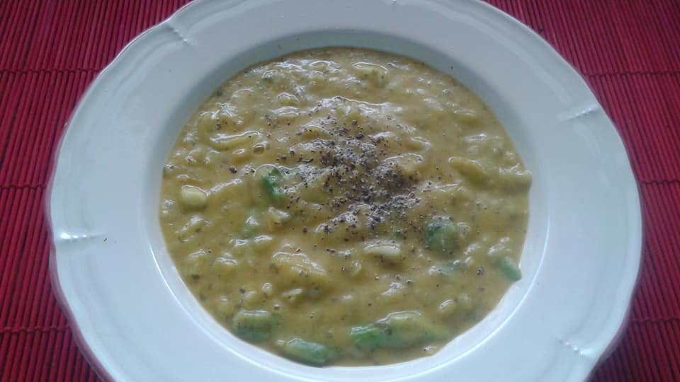 Corn, coconut milk, kabocha squash soup with poblano pepper, asparagus and leeks