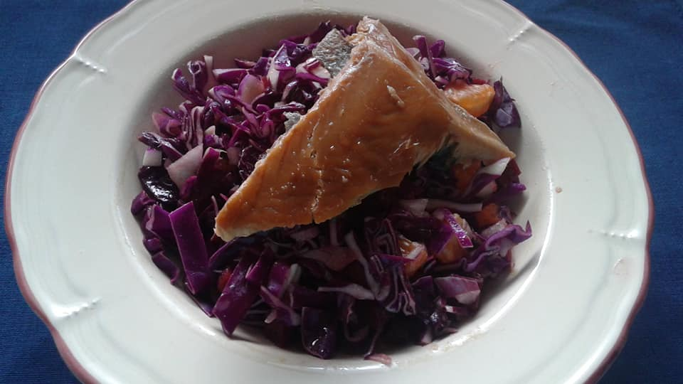 Red Cabbage with Coconut Infused Balsamic Dressing with Smoked Salmon