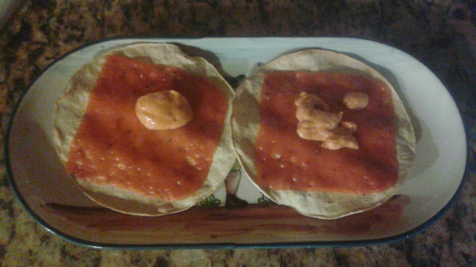 Baked tostadas with melted vegan cheese & pine nut chipotle sauce
