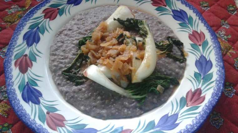 Anson Mills Blue Corn Grits with braised bok choy!