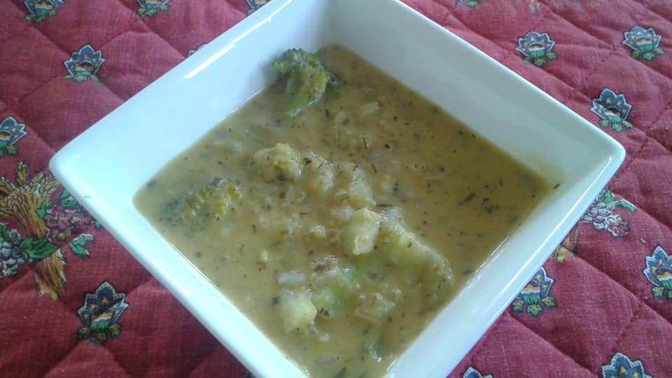 Corn Coconut Milk Broccoli shallot soup seasoned with Penzeys fine herbes