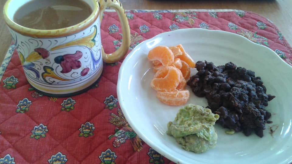 Cocoa black beans with guacamole, tangelos and coffee with nutpod pumpkin spice