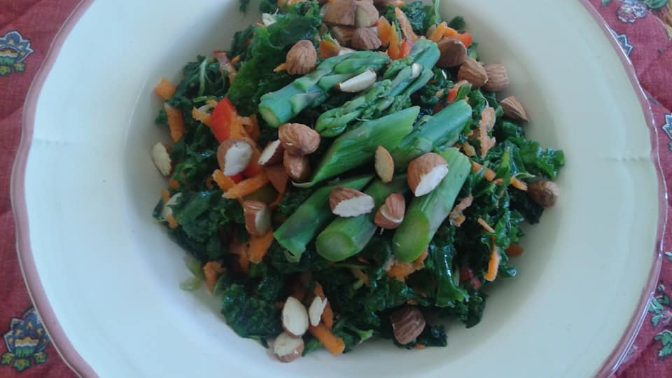 Massaged kale, red pepper, green onion. grated carrot, asparagus salad withe dijon, agave, balsamic dressing topped with chopped raw almonds