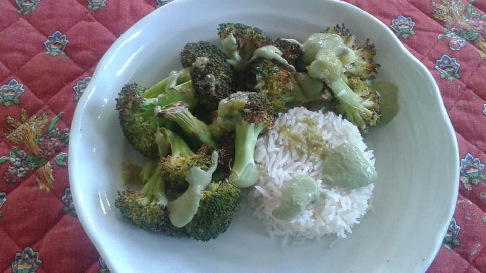 Roasted broccoli with no oil basil pesto and a side of rice