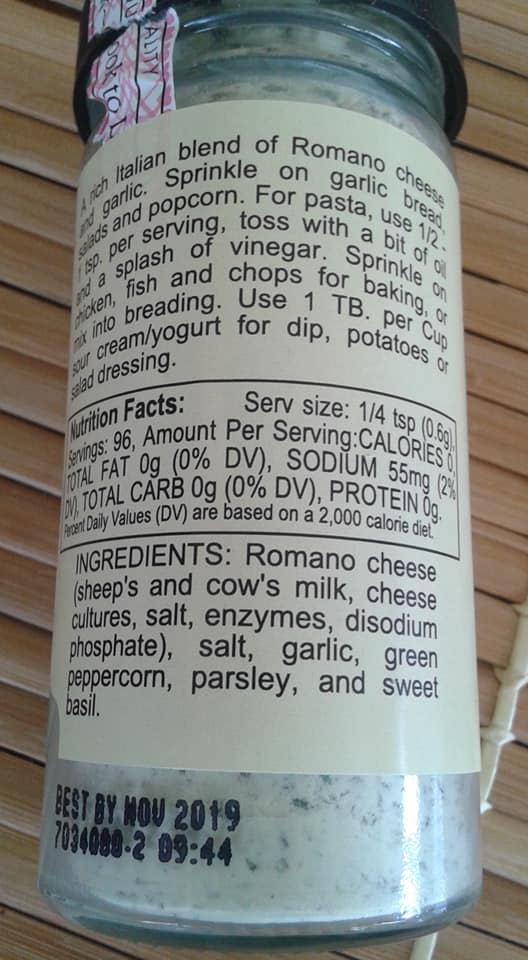 Ingredients in Penzeys Brady Street Cheese Sprinkle