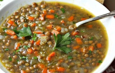 Lentil soup with brown lentils, carrots, onions, celery and Penzeys Foxpoint Seasoning